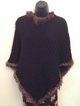 Fur edged poncho knitting kit